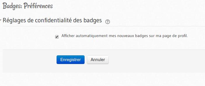 Préférences des badges