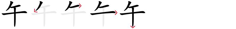 Image de décomposition du caractère 午
