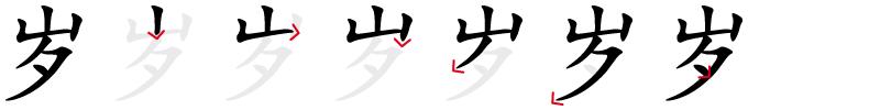 Image de décomposition du caractère 岁