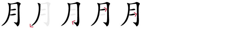 Image de décomposition du caractère 月