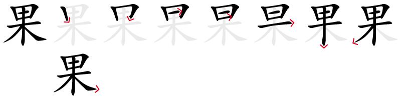 Image de décomposition du caractère 果