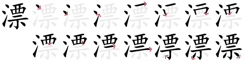 Image de décomposition du caractère 漂