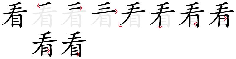 Image de décomposition du caractère 看